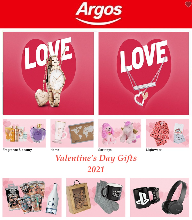 argos catalogue online valentines day gifts 2021