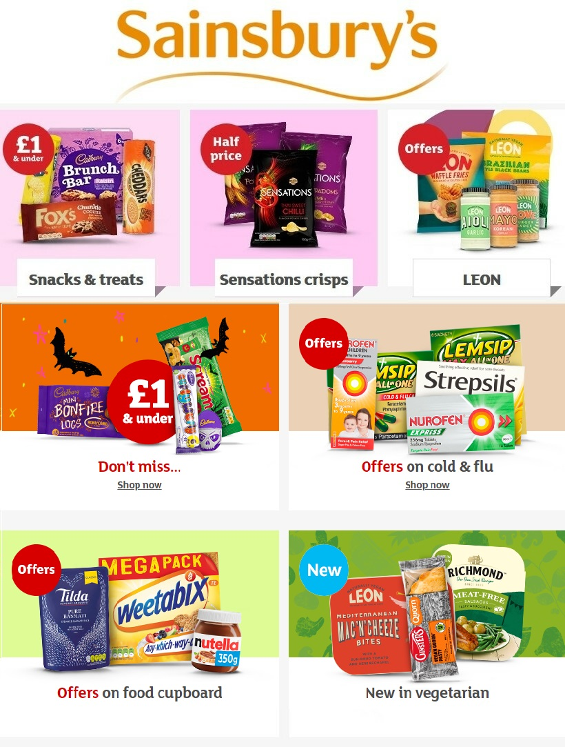 sainsburys offers celebrate halloween 21 october 2020